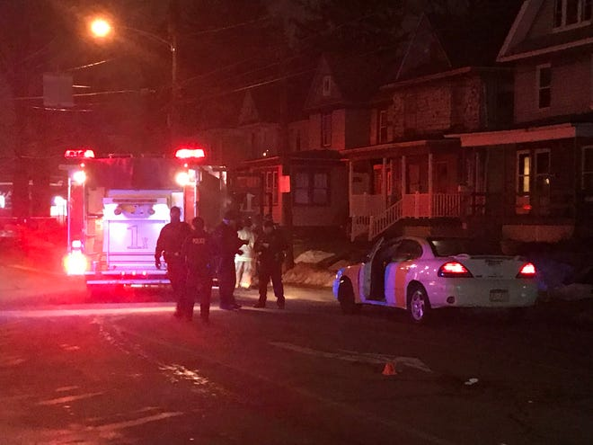 A 48-year-old woman died from injuries after she was struck by a vehicle Saturday evening at the intersection of West 26th and Cherry streets in Erie.
