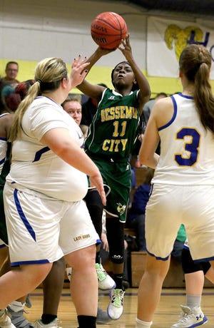 Bessemer City's Janiya Adams lifts a shot last season against Highland Tech. [Gazette file photo]