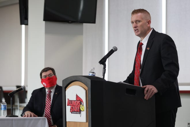New Illinois State athletic director Kyle Brennan speaks during an introductory news conference Thursday in Normal.