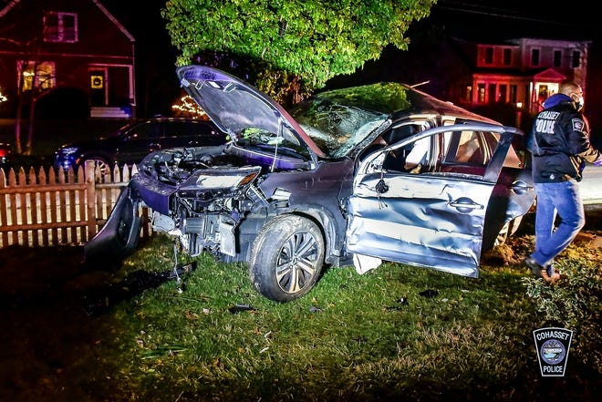 Cohasset Police arrested a man who crashed his vehicle in front of a Scituate home after fleeing an attempted traffic stop on Saturday, Jan. 2. 2021.
