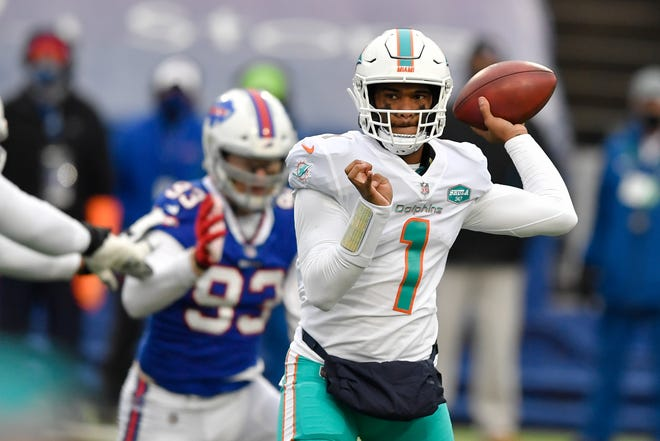 Dolphins quarterback Tua Tagovailoa attempts to pass against the Bills.