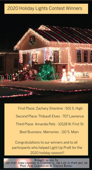 Holiday lights contest winners for 2020 were announced in Pratt.