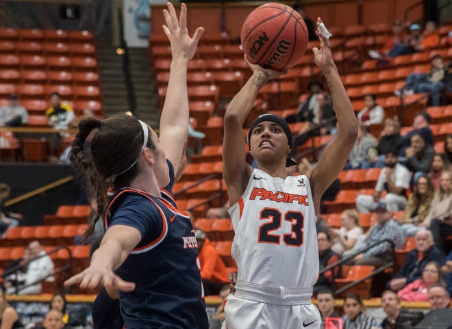 Pacific's Lianna Tillman, right, shoots over Pepperdine's Ashleen Quirke during a West Coast Conference women's basketball game Jan. 4, 2020, at Spanos Center in Stockton.