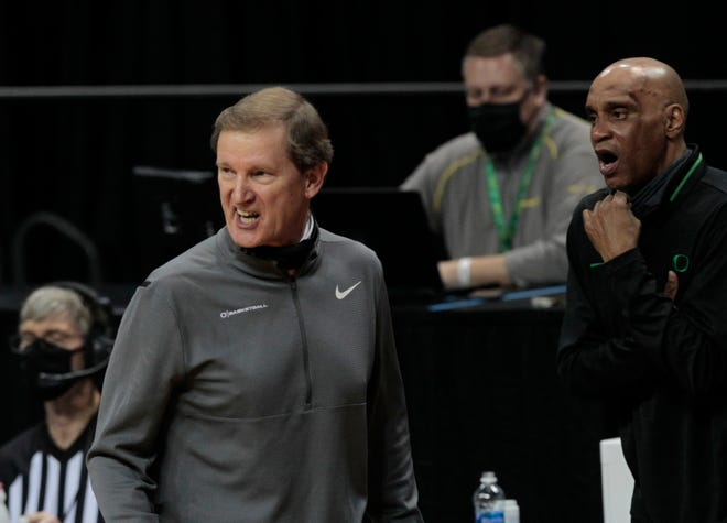 Oregon coach Dana Altman, left, had a vacancy on his staff after Tony Stubblefield left to become the head coach at DePaul.