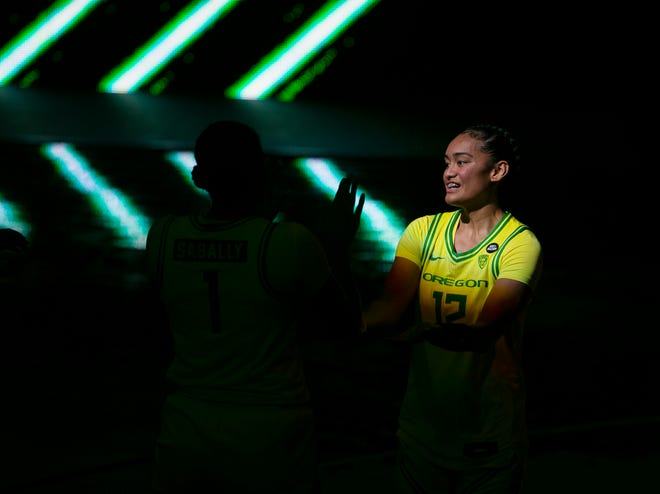 Oregon's Te-Hina Paopao is introduced before the game against USC.