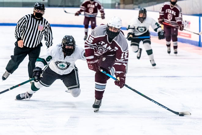 Bishop Stang's Brandon Cardelli, seen against Dartmouth last week, had two goals in Monday's win over Norwell.