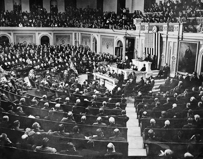 General view of the joint session of the Senate and House of Representatives, on Jan. 4, 1935 when President Franklin Roosevelt delivered his message. He asked for authority to provide jobs for all now on relief rolls and able to work.