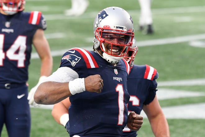 Patriots quarterback Cam Newton after scoring his receiving touchdown in the third quarter Sunday against the Jets.