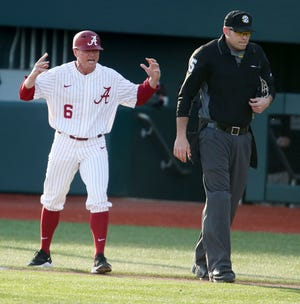 Alabama Head Coach Brad Bohannon is enraged after being ejected by umpire Justin Beam after he protested a disputed third strike call as the Crimson Tide took the first loss of the season falling to Lipscomb 3-2 in the second game of the weekend series Saturday, March 7, 2020. [Staff Photo/Gary Cosby Jr.]
