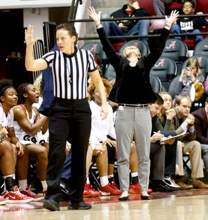 Alabama Head Coach Kristy Curry reacts to a foul called against her team as the Crimson Tide hosted the South Carolina Gamecocks Sunday Jan. 5, 2020 in Coleman Coliseum. [Staff Photo/Gary Cosby Jr.]