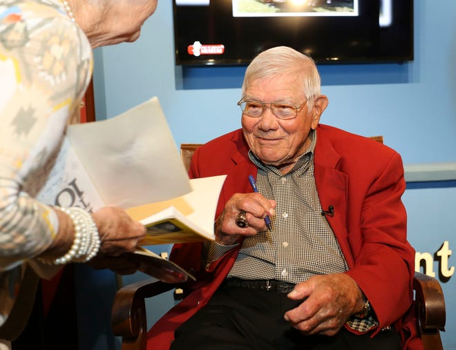 Don Salls, the University of Alabama's oldest living football player, celebrated his 100th birthday Monday, June 24, 2019 at the Bryant Museum. [Staff Photo/Gary Cosby Jr.]