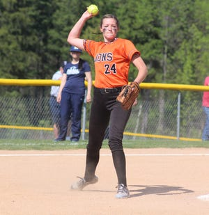 Wellsville pitcher Amy Lorshbaugh throws for an out after fielding a groundball in this 2016 file photo. Lorshbaugh recently entered the national record books for high school softball.
