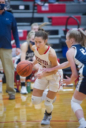 Buckeye Central's Emily Siesel drives to the basket.