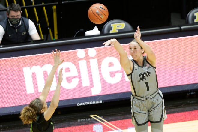 Purdue guard Karissa McLaughlin (1) goes up for a 3-pointer during the third quarter of an NCAA women's basketball game, Sunday, Jan. 3, 2021 at Mackey Arena in West Lafayette.