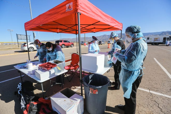A COVID testing site is set up at an Alamogordo Public Schools health services event in Alamogordo on Saturday, Jan. 2, 2021.