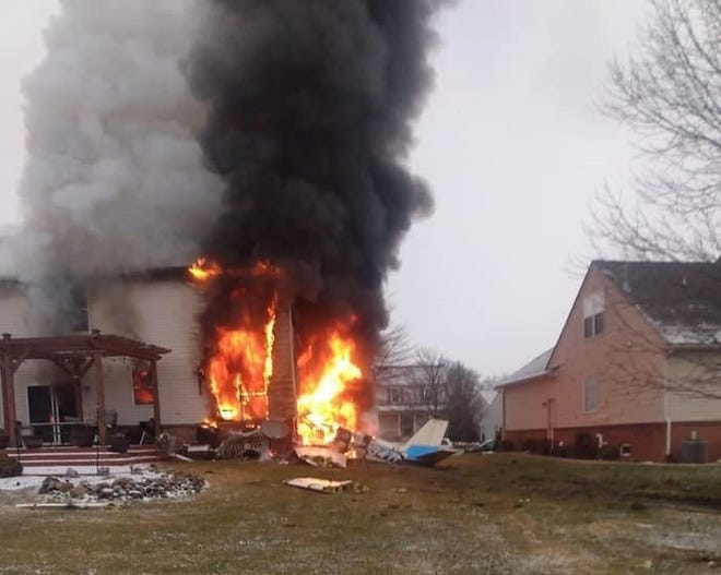 A plane crashed into a Lyon Township home on Saturday, Jan. 2, 2021.