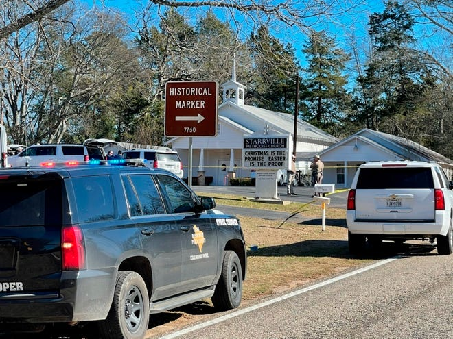 The Smith County Sheriff's Office investigates a fatal shooting incident at the Starrville Methodist Church in Smith County, Texas, on Sunday morning, Jan. 3, 2021.