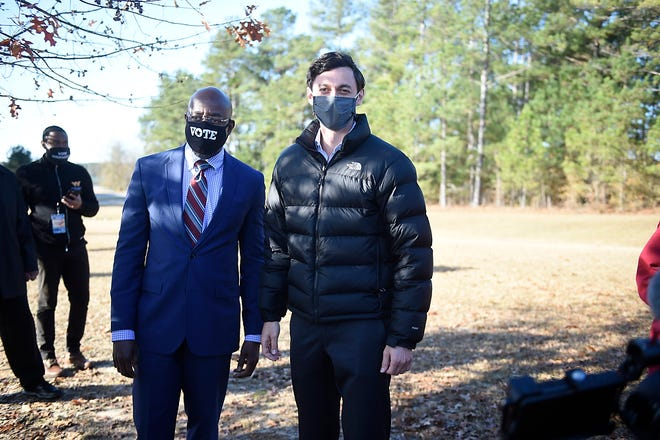Jon Ossoff and Raphael Warnock rallied Jan. 4 at Diamond Lakes Regional Park near Hephzibah the day before both won runoffs for U.S. Senate. Support for Democrats is increasing among area voters, particularly in Columbia County.