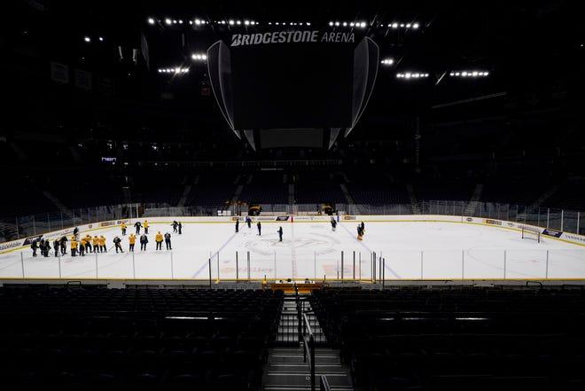 The Nashville Predators practice during NHL hockey training camp Monday, Jan. 4, 2021, in Nashville, Tenn. (AP Photo/Mark Humphrey)