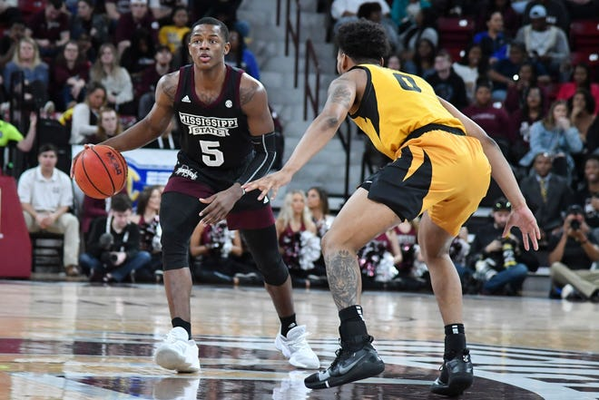 Mississippi State guard Iverson Molinar (5) handles the ball against Missouri guard Torrence Watson (0) during a game Jan. 14, 2020, at Humphrey Coliseum in Starkville, Miss.