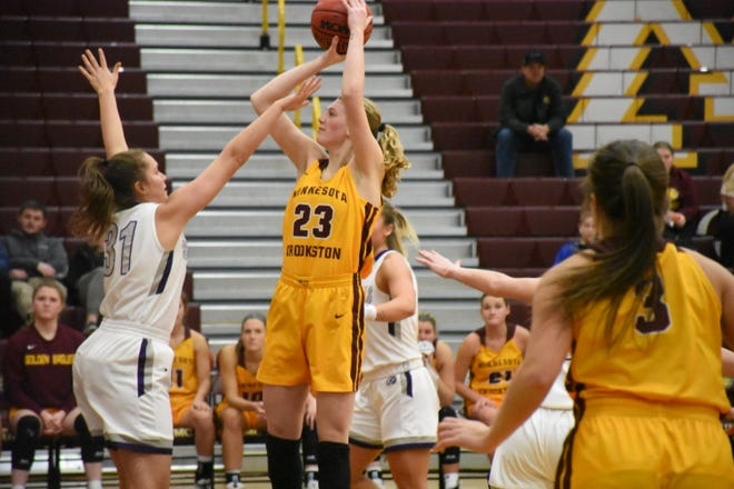 Bren Fox in a game against Southwest Minnesota State on Jan. 31, 2020. Fox scored 18 points and grabbed 14 rebounds in Minnesota Crookston's 54-53 loss at Concordia-St. Paul Sunday.