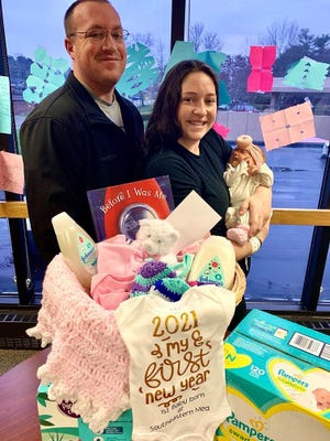 Eliana Louise, born to parents Nakayla Tantarelli  and  Jonathan Young, is the first baby born in 2021 at Southeastern Ohio Regional Medical Center. Eliana, who was delivered by Dr. Joseph Binkiewicz at 5:10 p.m. on Jan. 2, weighed 7 lbs. and 0.8 ounces and measured 20 1/2 inches long. New parents and baby are doing well.