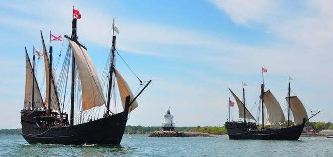Pinta (right) is a larger version of the archetypal caravel and offers larger deck space for walk-aboard tours and has a 40 ft. air conditioned main cabin down below with seating.