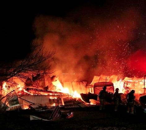 Fire destroyed an Antrim Township barn and its contents on New Year's Eve.
