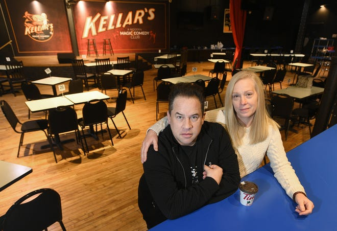 """Even though state officials allowed restaurants, gyms and other businesses to open at 50% capacity beginning Monday, Bobby Borgia, at left, and co-owner Kristi Lewonas will wait to open Kellar's: A Modern Magic & Comedy Club, 1402 State St., shown here on Monday. """"We're going to give it until the third week in January,"""" Borgia said. """"It's a little buffer period. The health and safety of our customers and staff is our No. 1 concern."""""""