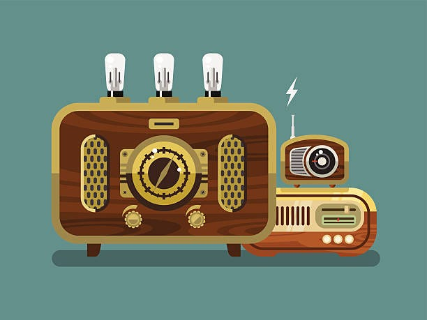 Three vintage radios concept flat vector illustration.
