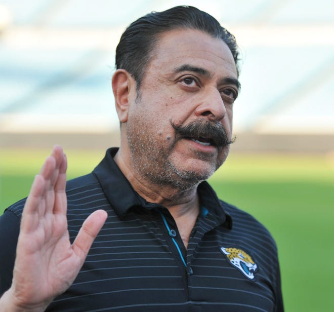 Jacksonville Jaguars owner Shad Khan fields questions from the media on his interest in buying Wembley Stadium in London ahead of the start of the Uniform Launch and Draft Party at EverBank Field Thursday, April 26, 2018. [Bob Self/Florida Times-Union]