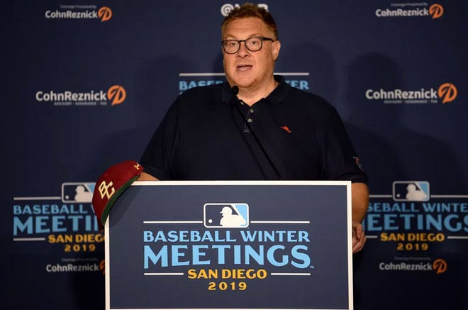 "Jon ""Boog"" Sciambi at the MLB Winter Meetings in December 2019. [Orlando Ramirez/USA TODAY Sports]"