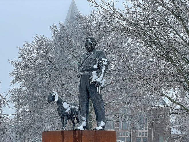 FILE PHOTO: Snow, ice and frost cover the Lonnie Stewart-designed Carl Sandburg statue in the Public Square on Monday, Jan. 4, 2021. The Galesburg Library Foundation is sponsoring a research project delving into Galesburg history.