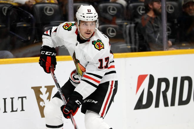The Chicago Blackhawks and forward Dylan Strome agreed to a two-year contract extension Sunday, Jan. 3. (AP Photo/Mark Humphrey)
