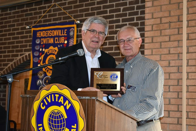 Tom Orr, left, accepts the Hendersonville Civitan Club's Citizen of the Year Award on Sept. 25, 2017 from John Mahlik. [REBECCA WALTER/TIMES-NEWS]
