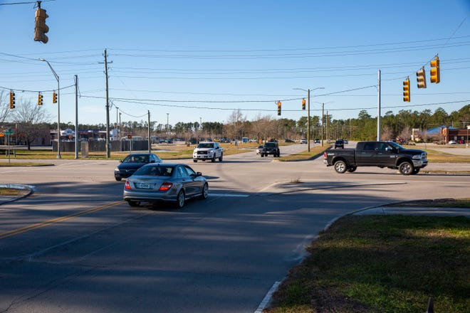 A two mile road network that includes Birch Street and this popular intersection near the exchange and commissary complex on Marine Corps Base Camp Lejeune will be repaired, repaved and widened to improve traffic flow and safety. The $17.5 million project began on Jan. 4 and will take two years to complete.