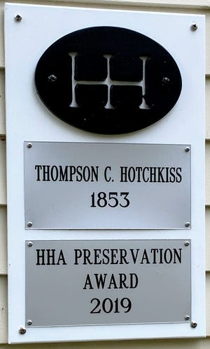 Winners of the Hudson Heritage Association Preservation Awards receive a special marker to showcase the honor. This marker commemorates the 2019 award for 37 Baldwin Street.
