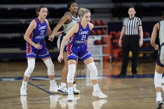 Allie Schulte (21) and Juliana Robertson (22) set up on the defensive end during a Lone Star Conference contest Sunday, Jan. 3, 2021, at the Louis Herrington Patriot Center. Schulte netted a game-best 20 points, on 7-for-9 shooting, to help the Layd Chaps secure a 69-48 win.