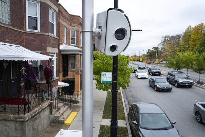 This speed camera on Western Avenue south of Addison Street in the Roscoe Village neighborhood of Chicago was photographed on Oct. 26, 2020.