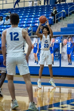 Midlothian junior Nathan Shepherd (20) shoots from the perimeter during a recent home game. The Panthers bounced back from a district-opening road loss to beat a shorthanded Red Oak team on Saturday at MHS Arena.