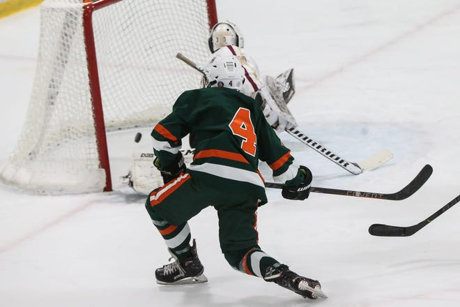 Hopkinton's Pavit Mehra scores during the championship game of the Daily News Cup against Algonquin at New England Sports Center in Marlborough on Jan. 1, 2020. Mehra scored a hat-trick in Hopkinton's season opening win over Norwood.