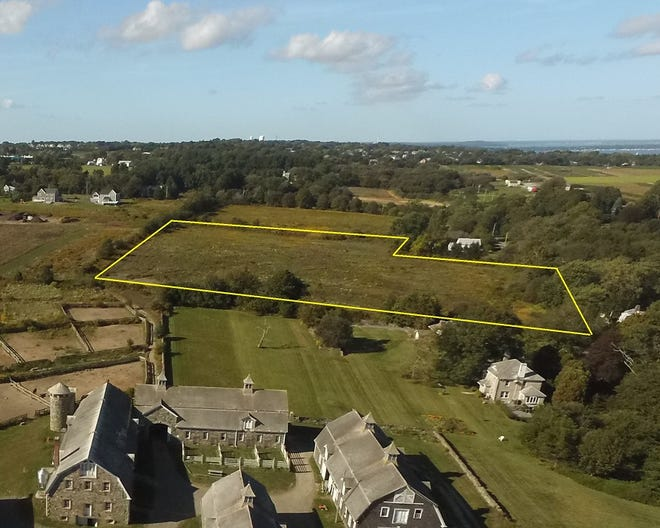 A drone photo of the 7.5-acre section of the historic Glen Farm property in Portsmouth that will be under protection.