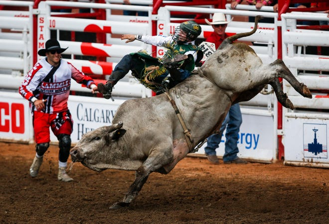 Jess Lockwood, shown in this July 2019 file photo in Calgary, will be among the competitors at The Professional Bull Riders Elite Unleash the Beast bull riding event Jan. 16-17 at the Southeastern Livestock Pavilion in Ocala.