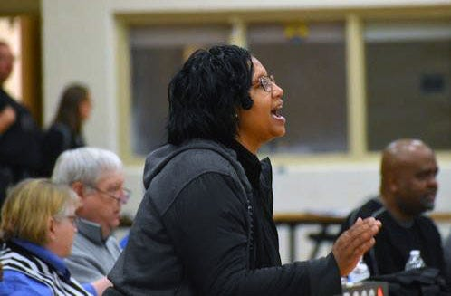 Hopewell girls basketball head coach Jackie Edmonds directs her players from the sideline during the 2019-20 season in this file photo.