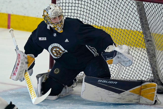 Goaltender Daniel Vladar, who is expected to play for Providence in the AHL this season, works out with the parent Bruins on Monday at training camp in Boston.