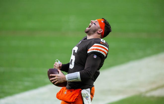 Browns quarterback Baker Mayfield celebrates after defeating the Steelers 24-22, Sunday, Jan. 3, 2021, in Cleveland (Scott Galvin-USA TODAY Sports)