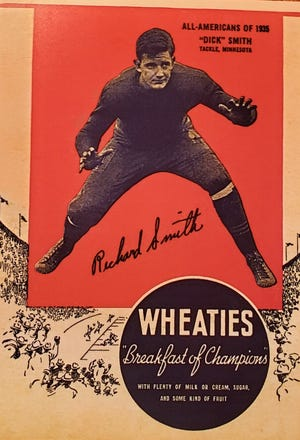 Former Rockford High School football player Richard Smith was featured on the front of a Wheaties box in 1936 after he was named an All-American as a lineman at Minnesota. General Mills featured every All-American from the 1935 season on box covers the following year.