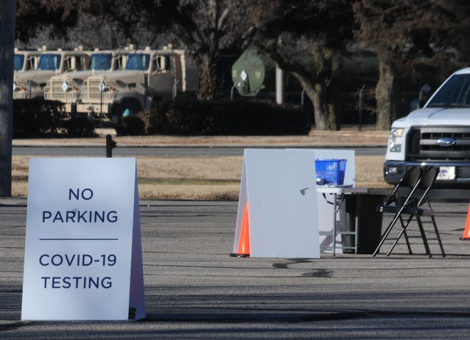A truck pulls into the free COVID-19 testing site at the Church of the Cross United Methodist Church, 1600 Rush St. in Salina, on Monday morning. The COVID-19 testing site uses FDA-approved oral swabs with test results back in less than 48-96 hours. Community members can sign up to get tested by going to www.gogettested.com.