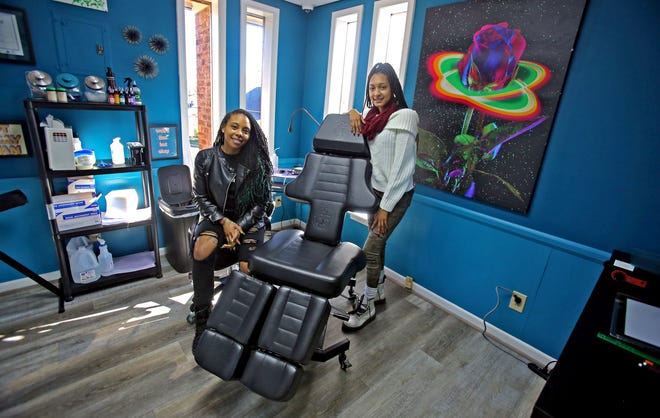 From left, owner Chantel Setzer-Porter and assistant Kirsten Peterkin recently opened Vibrant Ink Tattoo in Shelby.