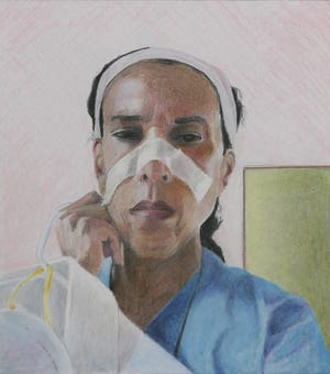 """Mike Solomon's """"Lisa's Watch"""" is a portrait of Dr. Lisa Merritt, founder and director of the Multicultural Health Institute in Sarasota, one of several images from his """"Scenes from the Pandemic"""" series."""